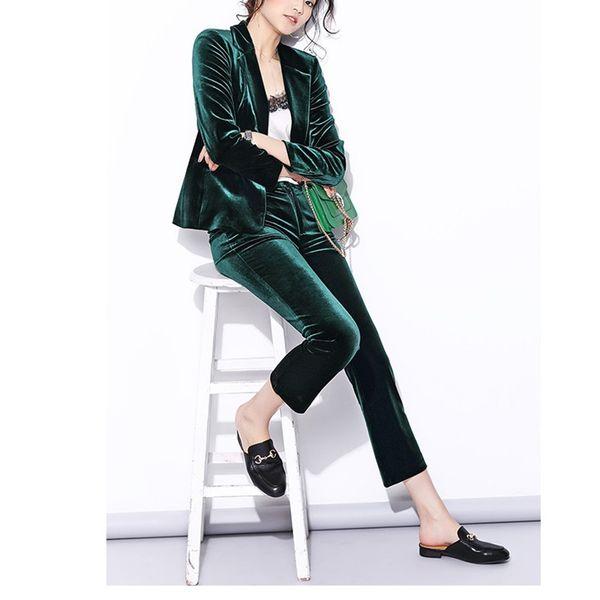 Women's new velvet suit two-piece suit (jacket + by mouth) women's fashion slim suit ladies business dress support custom