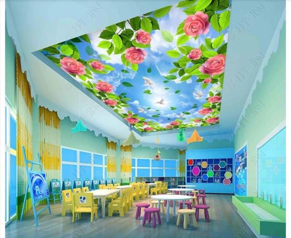 3d wallpaper benutzerdefinierte foto decke wandbild tapete Schöne rose zenith blumen blauen himmel schlafzimmer zenith decke wandbild papel de parede 3d