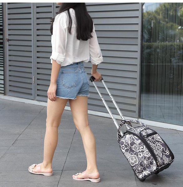Brand Women Travel Luggage Bag Cabin travel Bag rolling luggage Case Trolley Suitcase wheeled Bags for women Tote Duffles