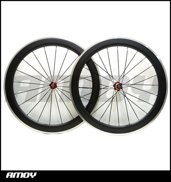 Free shipping Clincher Road Bike Bicycle Wheelset with Bitex Hubs, Aluminum 700c 60mm Carbon Fiber Alloy Brake wheels