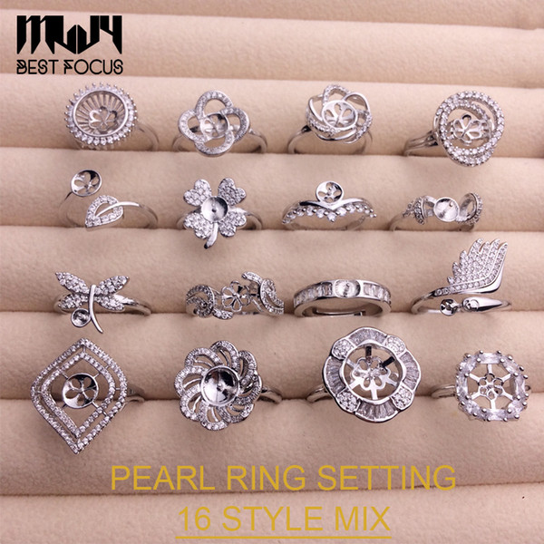 top popular 16 Styles Pearl Ring Settings Zircon Silver Rings Settings DIY Ring for Women Suitable for Pearl 7-9mm Adjustable Size DIY Jewelry Gift 2019