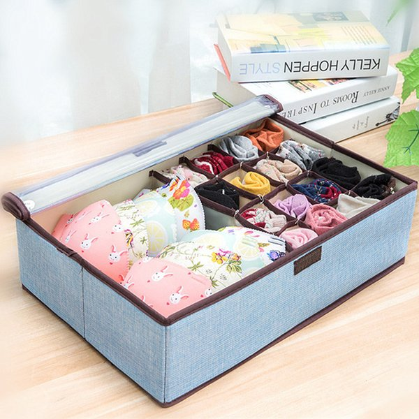 Foldable Home Storage Box for Underwear Socks Scarfs Ties Shorts Non-woven Wardrobe Closet Finishing Box Divider Lidded Organizer Suitcase