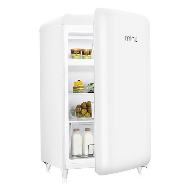 best selling 121L Mini Retro Refrigerator Freezer Fresh Food Storage Uni-body Fridge Icemaker Mini Fridge Gadget Cooler Refrigerator Free Shipping TTB