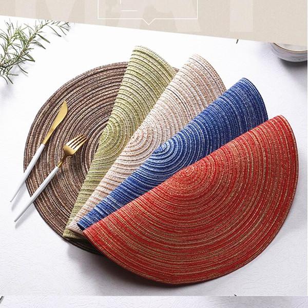 14 pulgadas redonda mantel individual tejido trenzado manteles tejidos a mano de lino de algodón Coaster Coffee Pad almohadilla de aislamiento térmico 0181