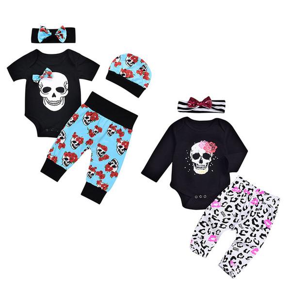 Bebés y niños trajes de Halloween INS Skull print mameluco establece 2018 moda otoño Niños trajes de ropa Floral con arco diadema C4674