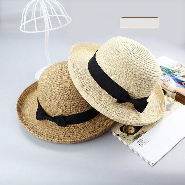 2018 Chapeau de paille pour enfants Monochrome Mère et fille Modèles parent-enfant été Ombre de soleil plage Bow Hat dames Simple pêcheur A9523