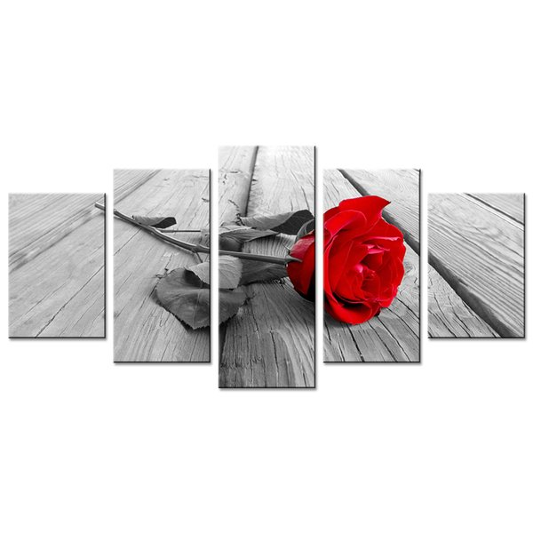 Red Rose Flower Painting Canvas Wall Art Modern Picture Home Decor Floral HD Giclee Artwork 5 Panels Stretched on Framed