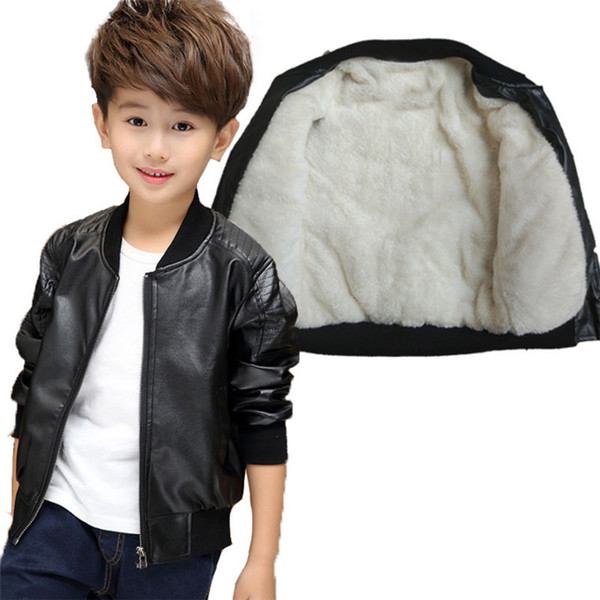 ed04f2101860 Clothes For Kids New Baby Casual Faux Leather Warm Jacket Children ...
