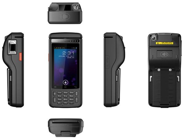 PDA Handheld Terminal with 58mm Printer Fingerprint 2D Laser Barcode Android 6.0 Scanner 4G Lte Rugged HF RFID MSR card reader