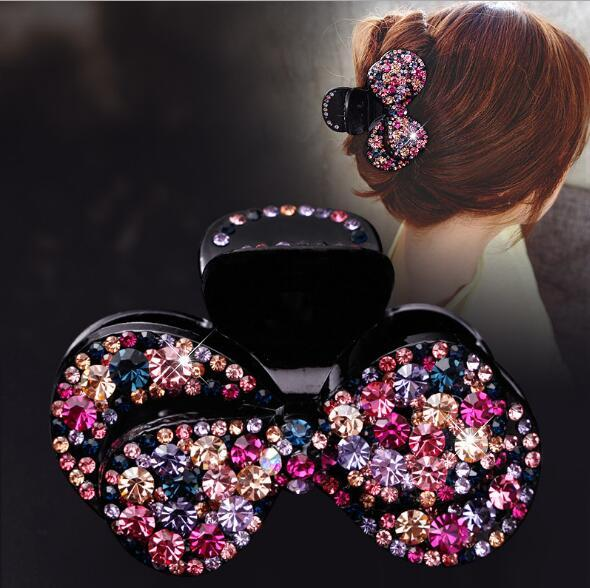 Large Hair Claws double layer bowknot Clip Full Crystal Rhinestone Colorful Hair Clips Clamps Fashion Hairpins Hairgrip Wedding Gift DHL