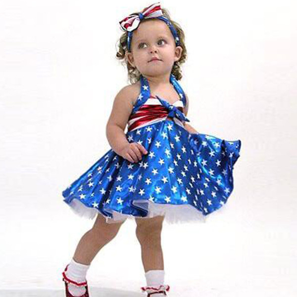 Baby Girls Clothes Set Suit 2PCS Dress+headband Toddler Baby Girls Star Print 4th of July Tassel Straps Striped Clothes