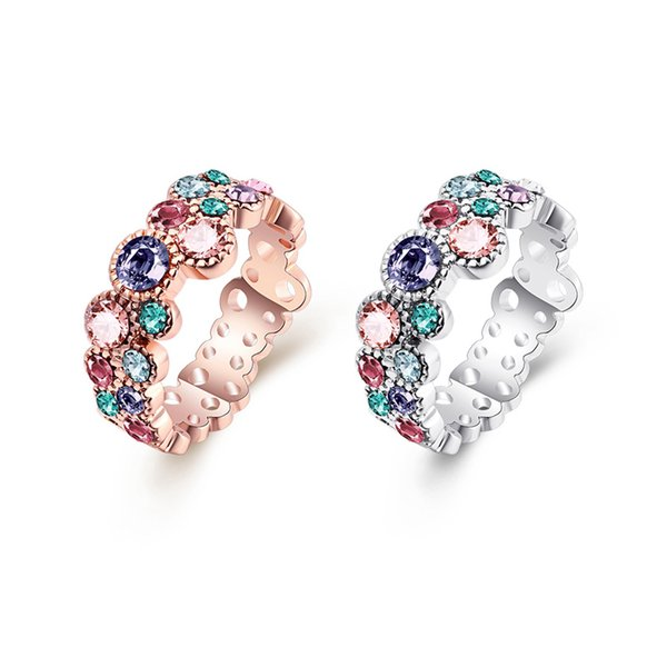 New arrival Hollow Tin alloy Cluster Rings with color zircon romantic fashion jewelry making for women gifts free delivery AKR044
