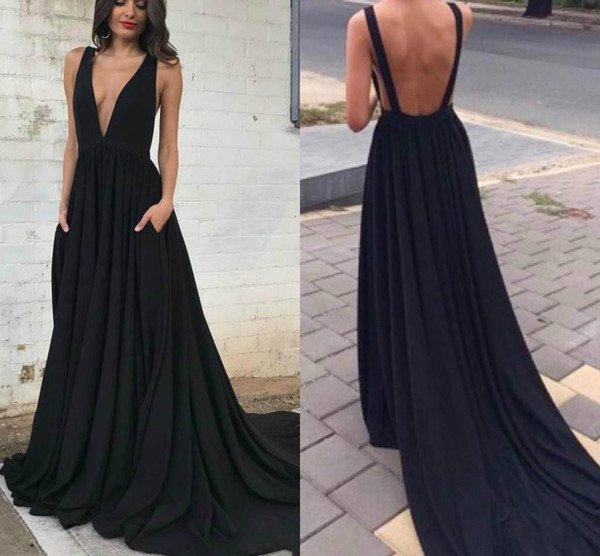 Free Shipping 2018 New Arrival Sexy Backless A-Line Formal Evening Dress Elegant Sleeveless Satin Deep V-Neck Party Prom Dress