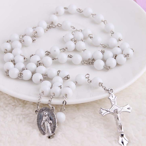 Trendy Christian Rosary Cross Pendant Long Necklaces Women Men Handmade Imitation Pearl Wood  Jewelry Bijoux Gifts