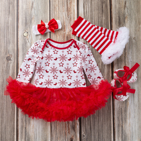 4PCS Christmas Clothes Set Newborn Baby Girls Princess Snowflake Tutu Dress+Headwear+Sock+Shoes Christmas Clothing Set Outfits