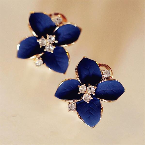 2018 new elegant noble blue flower ladies gold rhinestone earrings piercing Brinco women Wholesale free shipping