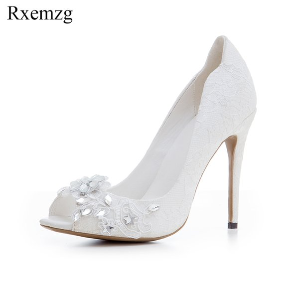 wholesale 2019 new fashion crystal flowers lace shoes wedding women high heels white lace party shoes woman peep toe fashion pumps