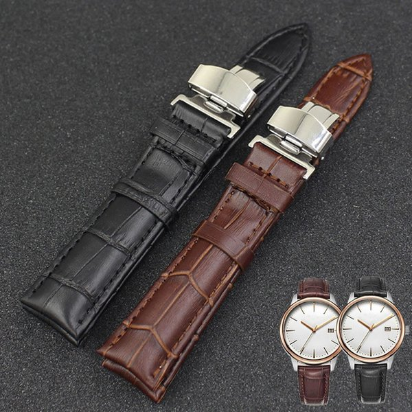 1 PC Luxury Leather Stainless Steel Butterfly Clasp Buckle Watch Band Strap 18-24mm 3 colori