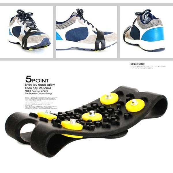 amping Hiking Climbing Accessories 1Pair Anti Slip Snow Ice Camping Mountaineer Spikes Grips Crampon Cleats 5 Stud Ice Snow Shoes Cover C...