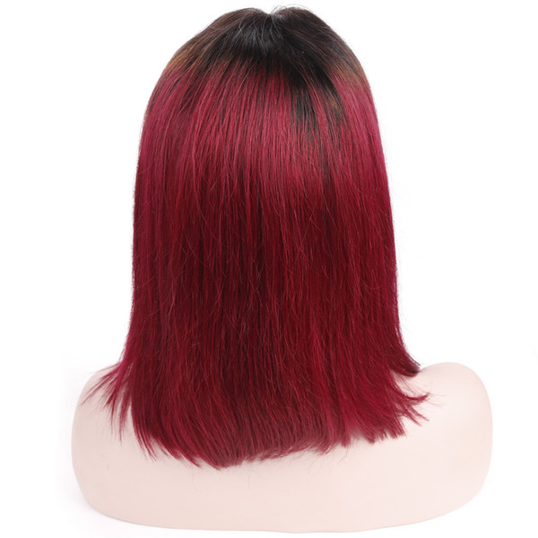 Bob Lace Front Wig Human Hair With Baby Hair 1B/BUR Brazilian Straight Burgundy Wigs Pre Plucked Middle Part Remy Lace Wigs Alot