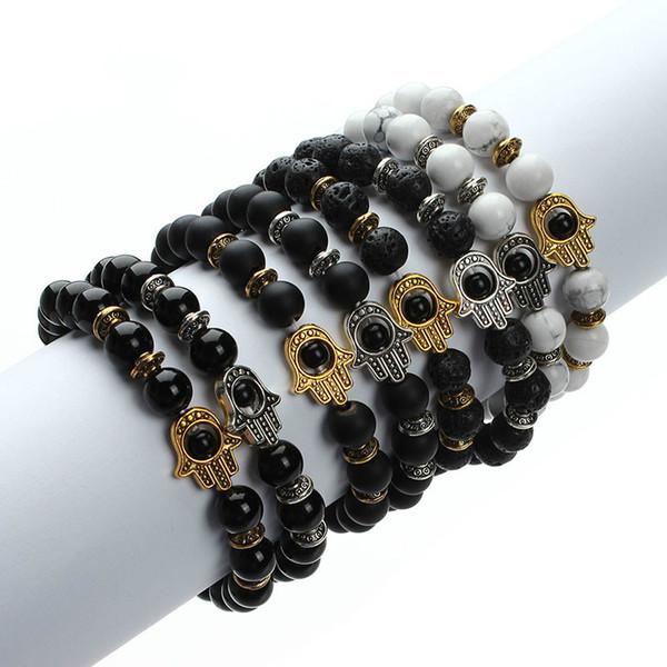 2018 Natural Stone Black Lava Beads Bracelet Men Gold Color Hamsa Hand Charm Energy Yoga Mala Bracelets For Women F2830