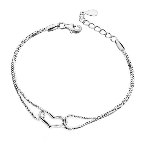 Korean style crystal bracelet silver plated creative charm bracelet heart shaped pendant necklace bangles jewelry nice gift free ship
