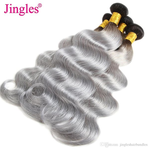 Body Wave Ombre Human Hair Extensions 1B Grey Ombre Color Brazilian Body Wave Human Hair Weave Bundles Malaysian Peruvian Indian Cheap Wefts