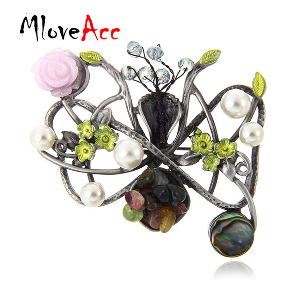MloveAcc Hot Selling Unique Vintage Elegant Crystal Imitation Pearls Brooch for Women Handmade Flower Stone Brooches Pendant