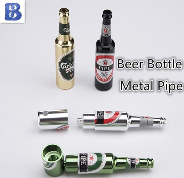 Beer Bottle Oil Burner Metal Smoking Pipe Hand Pipe Beer Pattern Metal Pipes Mini Hammer Tobacco Herb Pipes Aluminium Alloy