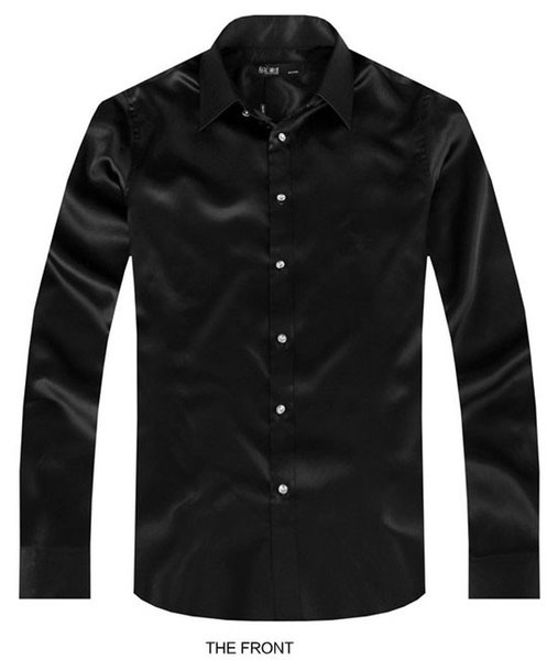2017 Black Luxury the groom shirt male long sleeve wedding shirt men's party Artificial silk dress M-3XL 21 colors FZS12