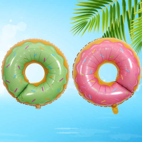 50pcs Summer Hot Donuts Lollipop Birthday Party Balloon Kits Sweet Boys Girls Pink Green Rainbow Sprinkle Doughnut Foil Aluminium Balloon