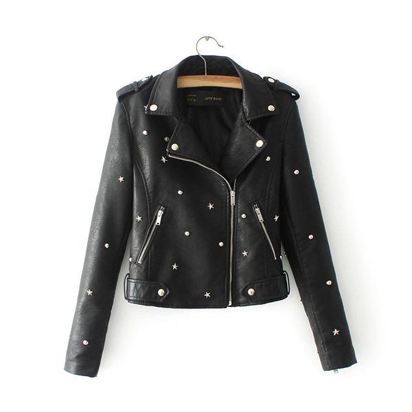 best selling New 2017 Women Leather Coats Autumn Long Sleeved Turn-down Collar Fashion Rivet Slim Biker Moto Jacket Jaquetas Feminino Couro