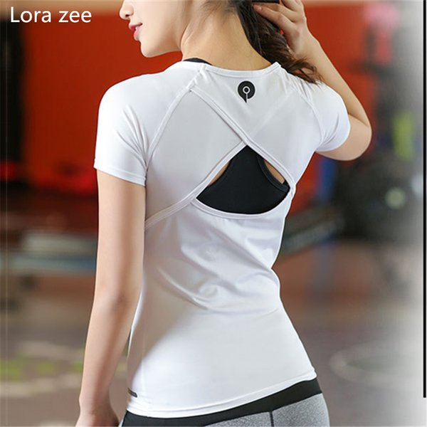 LORA ZEE Backless Yoga Camisas Tops Hollow out Sports Shirts Mujeres White Workout Vest Sólido Slim Running Shirt Sport Gym Clothes