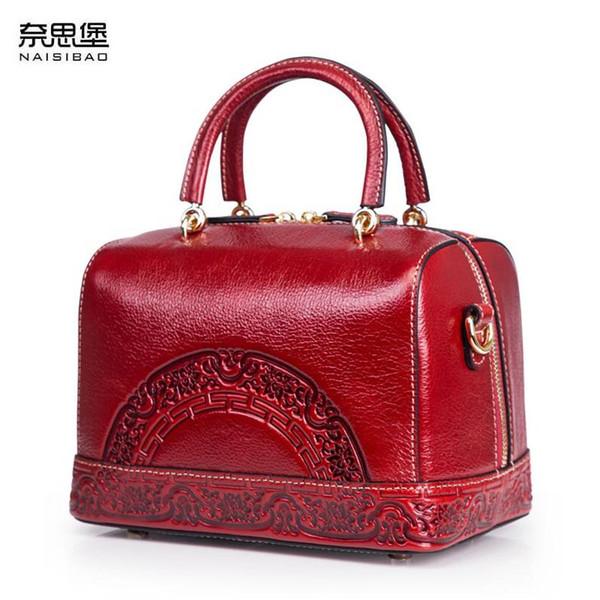 Genuine Leather women bag Chinese wind embossed shoulder bag 2018 New Retro Boston