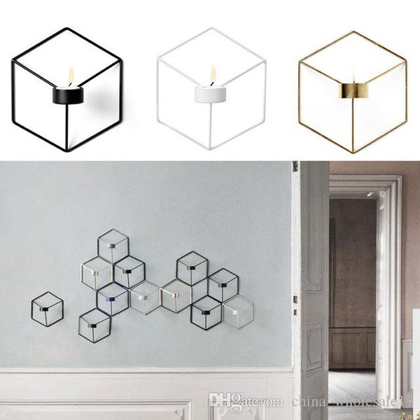 Creative Nordic Style Wall Candle Holder Shelf 3D Geometric Iron Metal Sconce Candlestick Bar Home Decoration
