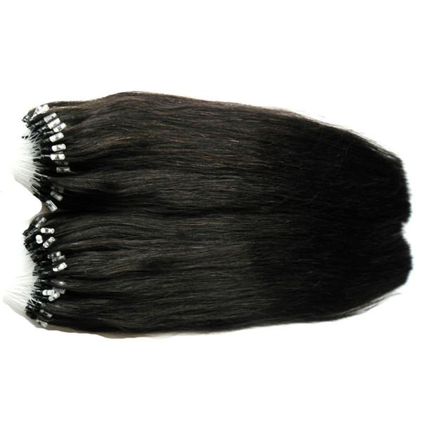 """18""""20""""22""""24"""" Micro Ring Hair Extensions 200g Brazilian Black Remy Hair Extensions Straight Micro Link Hair Extensions Human"""