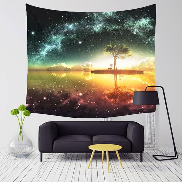 Monily Polyester Starry Schöne Nachtszene Muster Tapisserie Tropische Bäume Wohnzimmer Dekor Wandbehang Yoga Strandtuch