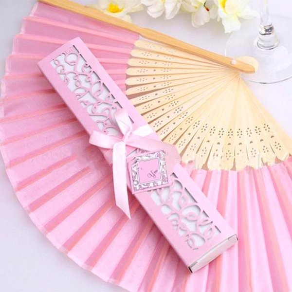 Elegant Fold Bamboo Hand Fan in Laser-Cut Chinese Silk Gift Box Exquisite Party Favors Wedding Gifts Manual Crafts Luxury Customized LOGO