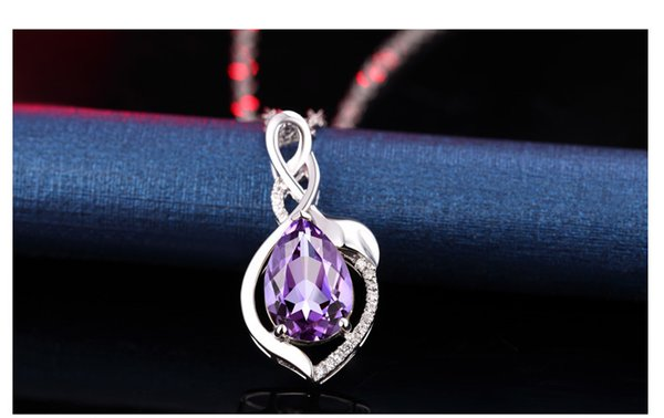 Very Beautiful Accessories South Korea Fashion Pink Crystal Necklace Plated Rose Gold Hibiscus Stone Topaz Female Style Pendant Pendant