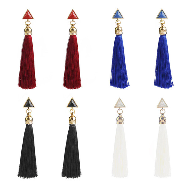 Thread Long Tassel Earrings Dangle Drop Statement Fringe Earrings For Women Luxury Triangle Earrings Jewelry Support FBA Drop Shipping H721F