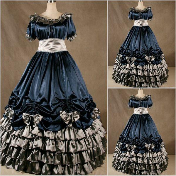 2018 Summer Gothnic Lolita Gown Vampire Gothic Victorian Dress steampunk dress Medieval Halloween Costume women prom