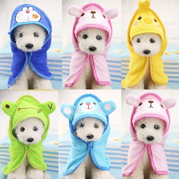 Cute Cartoon Soft Drying Bath Dog Towel Super Polyester Absorbent Pet Bathing Towel Blankets Puppy Medium Dogs Towels