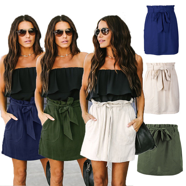 2018 women short mini skirt plain pencil bandage high waisted bodycon ladies wrap solid empire straight sashes cotton skirts, Black