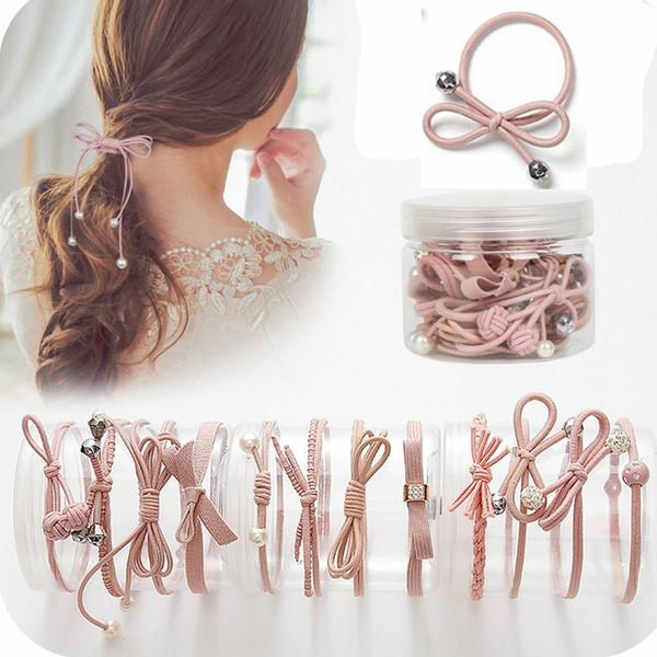 12 Pcs/bottle Ribbon Bowknot Hair Ropes Rubber Band Cute Hair Ties Bow Elastic HairBand Women Girls Hair Accessories