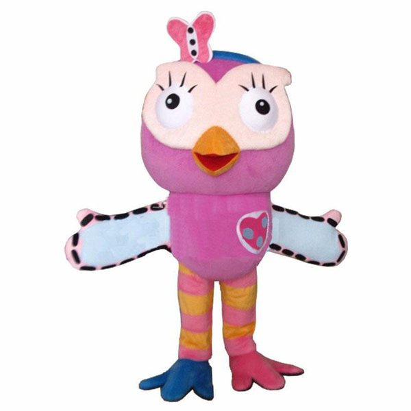 2018 Alta qualidade hot Pink Owl Mascot Costume adulto Fancy Dress Character mascot costume frete grátis