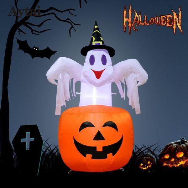 Compre Aytai 142 87 Cm Dia Das Bruxas Inflavel Abobora Diy Decoracoes De Halloween Ao Ar Livre Assustador Halloween Inflavel Golpe Em Abobora Para