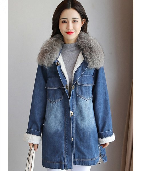 New Fashion Women Big Fur Collar Lamb Coats Casual Packets Long Denim Jacket Winter Blue Thicken Jeans Parkas