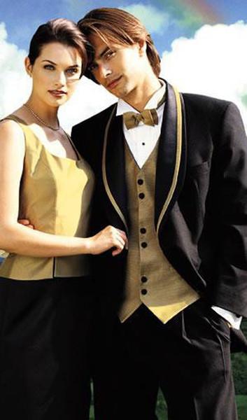 Mens Suits One Button Black Groom Tuxedos With Golden Shawl Lapel Best Man Wedding /Dinner Party Suits (Coat+Vest+Pants+Tie)
