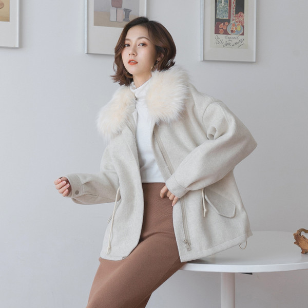 2018 Korea East Gate Suit-dress Winter coats for women New Pattern Concise Thickening Increase Hairy Lead Wool Wool Loose Coat Hot Sale