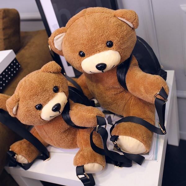Korean Version 33-45cm Cartoon Cute Brown Bear Backpack Teddy Bear Ladies Stuffed Bag For Girls Kids Lover Best Gift